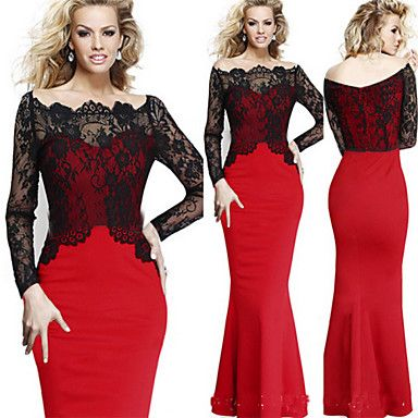 VICONE Women's Long Sleeve Lace Sexy Bodycon Ol Slim Fishtail Dresses – USD $ 24.99