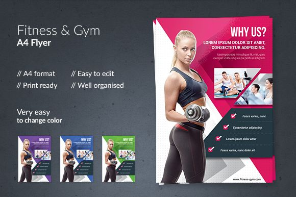 Fitness \ Gym Flyer by Out of Pixels on @creativemarket 123 - Gym Brochure Templates