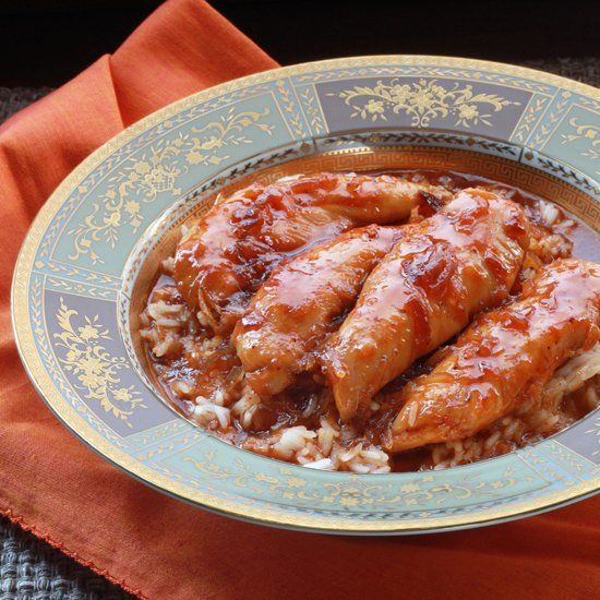 Apricot Glazed Chicken. Chicken tenders baked with an apricot sauce ...