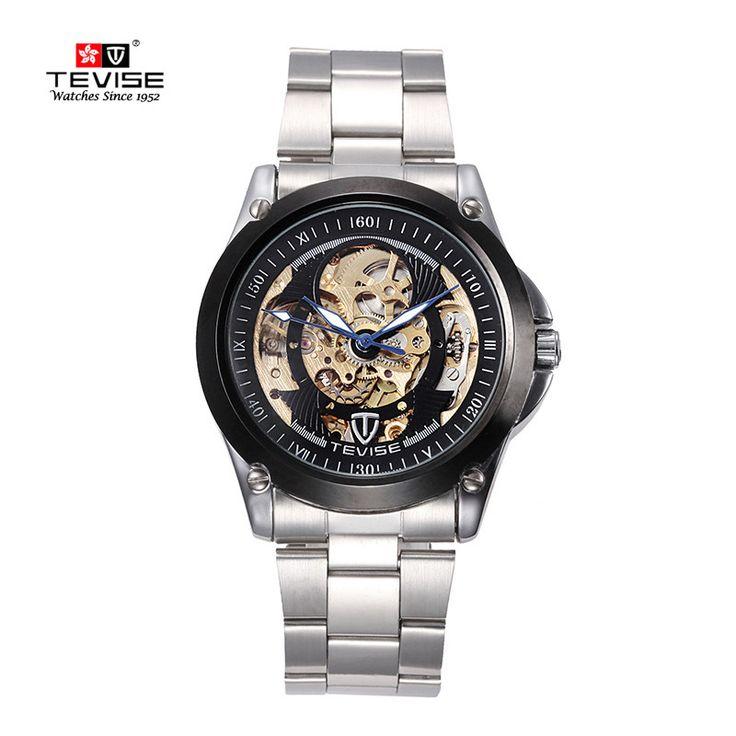 TEVISE Fashion luxury Men's skeleton Automatic mechanical waterproof Male wrist watch Luminous stainless steel reloj mecanico