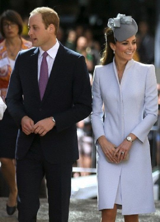Britain's Prince William and his wife, Kate, the Duchess of Cambridge arrive at St. Andrew's Cathedral for 2014 Easter Sunday church service in Sydney