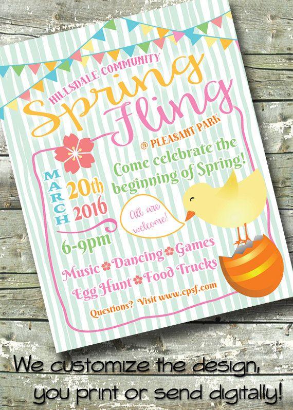 Spring Festival ~ Spring Fling ~ 5x7 Invite ~ 8.5x11 Flyer ~ 11x14 Poster ~ 300 dpi Digital Invitation by DitDitDigital on Etsy