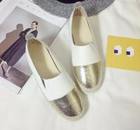 Slip-On Loafers Canvas Shoes - white and gold - By sexybling.com