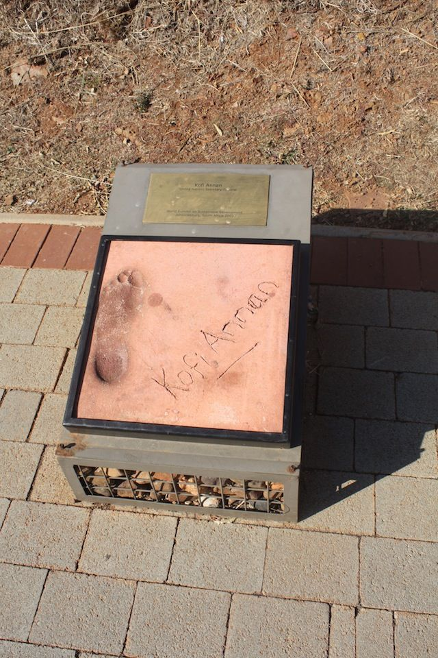 Former secretary-general of the United Nations, Kofi Annan's footprint forms part of the Footprints Project at Maropeng in the Cradle of Humankind World Heritage Site, Gauteng, South Africa.