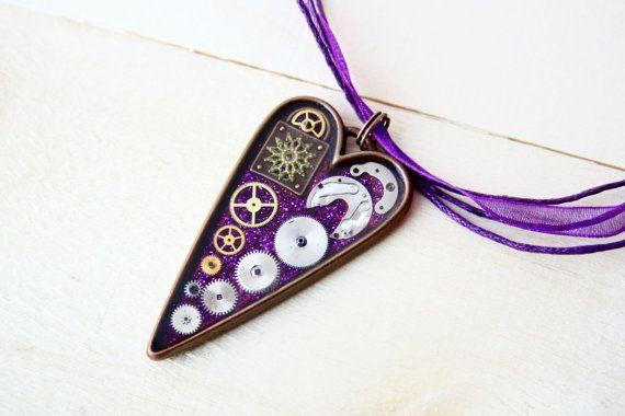 Steampunk Heart Pendant  purple by JeanneNoireRepunked on Etsy