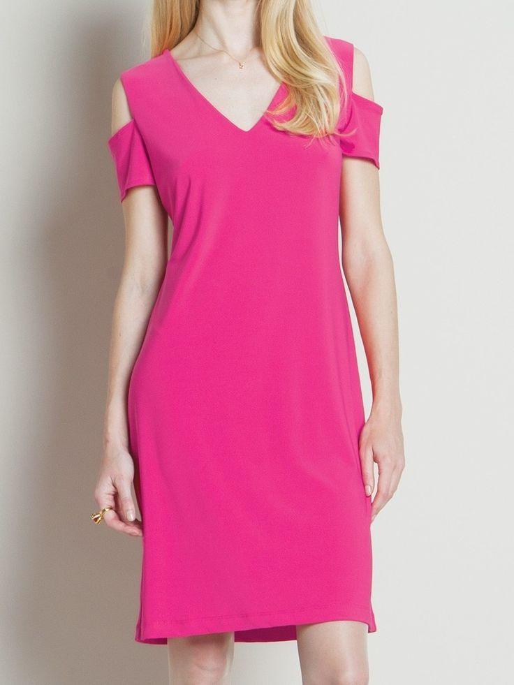 Something You - Clara Sunwoo Open Shoulder V-Pull Over Dress with 1/2 Sleeve - Fuschia - DR514, $112.50 (http://www.somethingyou.com/new/clara-sunwoo-open-shoulder-v-pull-over-dress-with-1-2-sleeve-fuschia-dr514/)