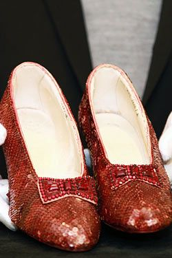 """Original Ruby Slippers from """"The Wizard of Oz""""...Most Expensive Shoes Ever...impressive 642 Burma rubies."""