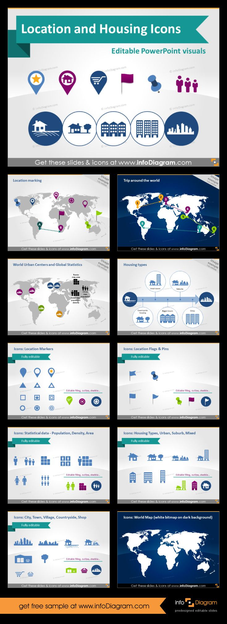 Set of #powerpoint #cliparts to visualize locations, buildings, transport routes and more. Editable in PowerPoint, change color, size but icons will stay sharp. This one also contains world map. #template #theme #map