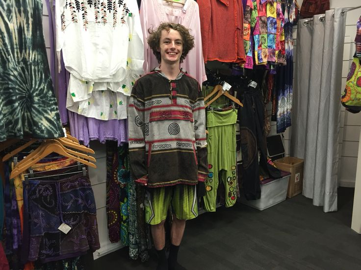 Lachlan looking cool in this best seller unique hoodie from NEPAL. #NepaleseClothing #HippieClothing #Pashmina #Felts
