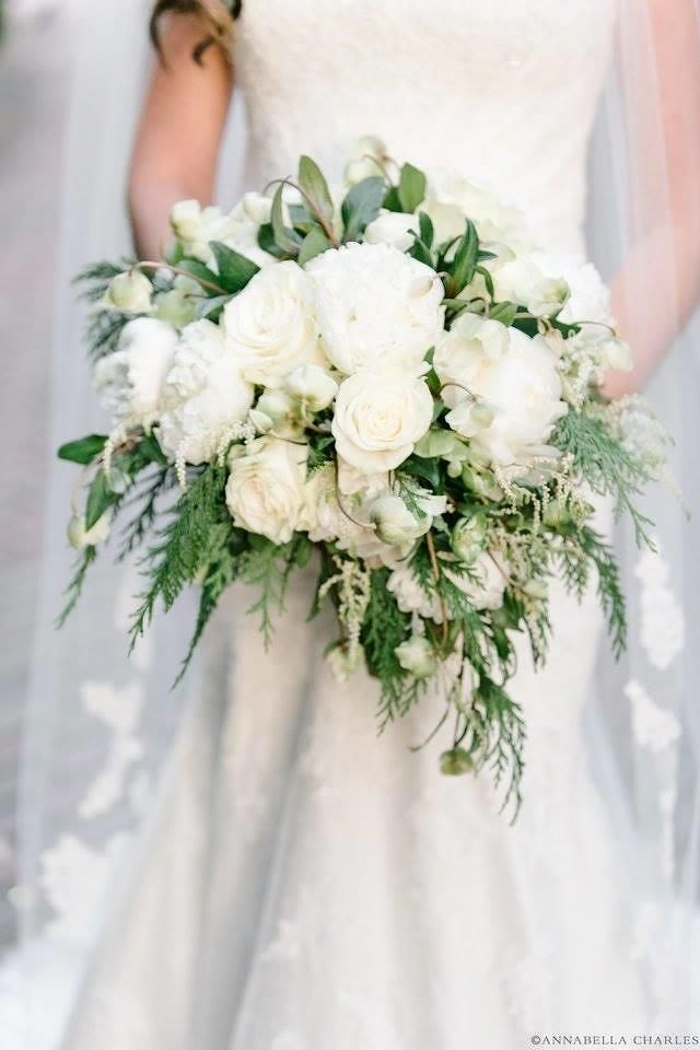 Gorgeous White Rose Bouquet With Greenery White Rose Bouquet