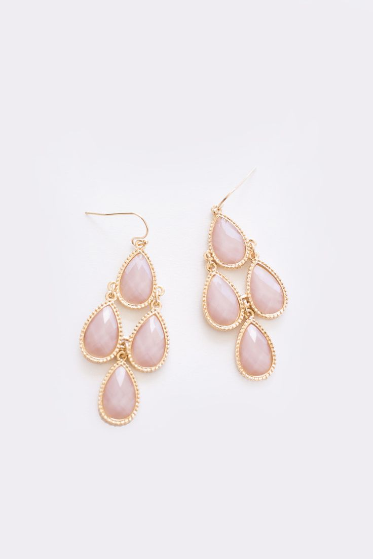 Cherise Pink Teardrop Dangle Earrings