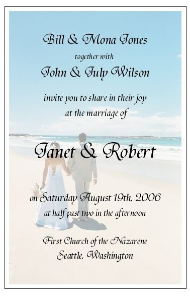 Beach Wedding Invitation Wording Ideas Invitations