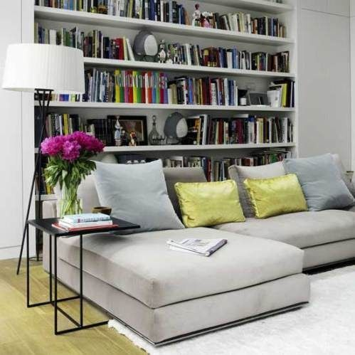 Library and sofa with green and blue cushions