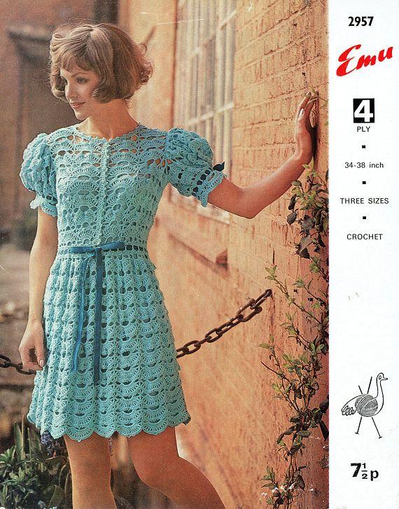 PDF Vintage 1970s Womens Ladies Lace TEA DRESS Crochet Pattern
