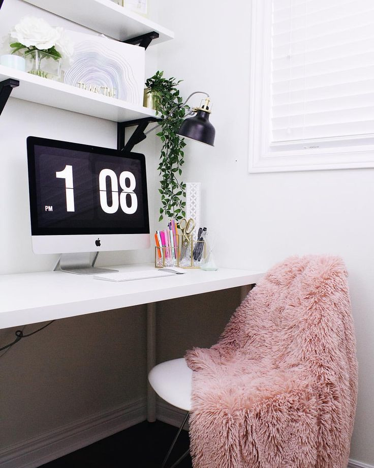 Office inspiration! Office tour coming to the blog soon! #officegoals #officedecor #whiteinterior