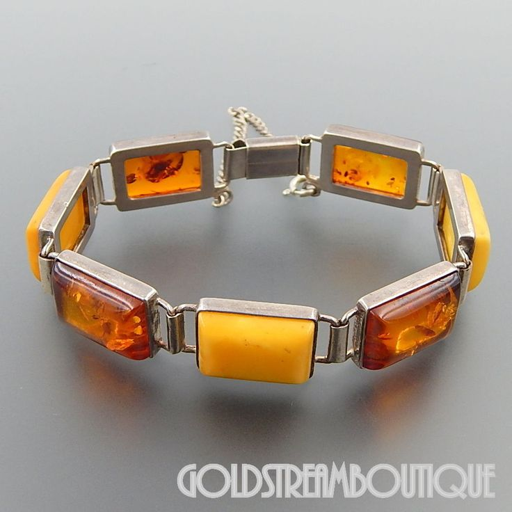 VINTAGE STERLING SILVER HONEY & EGG YOLK BUTTERSCOTCH BALTIC AMBER BRACELET  #Statement