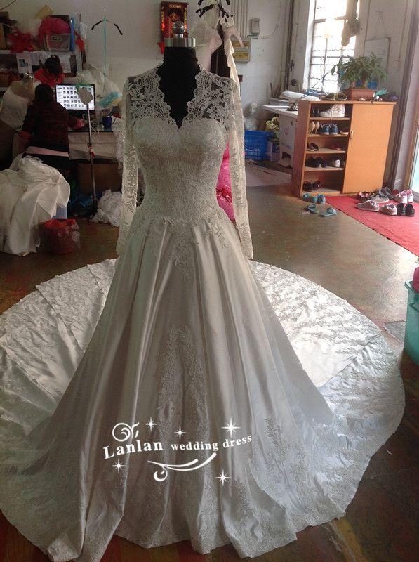 Vestido де noiva в 2016 году новое платье европейский большой свадебные платья большой роскошные кружева аппликация от кутюр тема свадебное платье