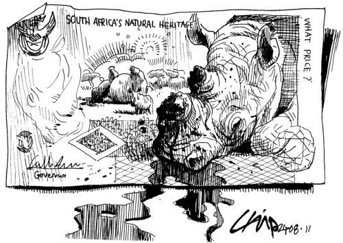 CHIP Snaddon depicts the slaughter of South African Rhinos by desecrating the nation's R10 note.