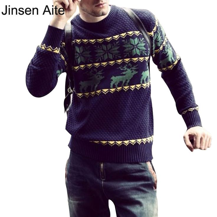 Size XXL 2017 New Mens Sweaters Christmas Men Snowflake Deer Floral Fashion Causal O-Neck Slim Pullover Blusas Masculinas 0547 #Affiliate