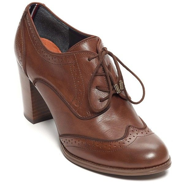 Tommy Hilfiger Heeled Oxford found on Polyvore featuring shoes, oxfords, tommy hilfiger, genuine leather shoes, shiny shoes, real leather shoes and leather shoes