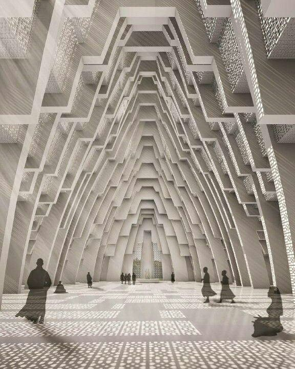 The layered internal space of the Iskon temple in Ahmedabad , India by Sanjay Puri Architects