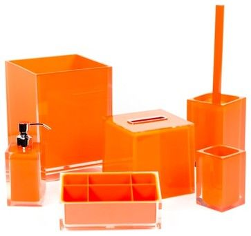 orange bathroom accessory set in thermoplastic resin contemporary bathroom accessory sets thebathoutlet - Bathroom Accessories Orange