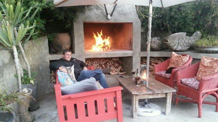 Best spot to be after dinner...Emily Moon by the fire