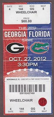 2012 GEORGIA FLORIDA GAME Bulldogs vs. Gators Ticket Stub JACKSONVILLE
