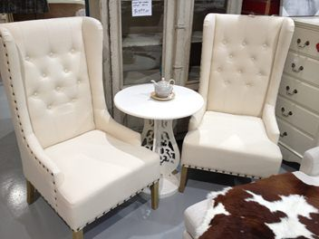 French Style Cream colour Wing Chair/Armchair