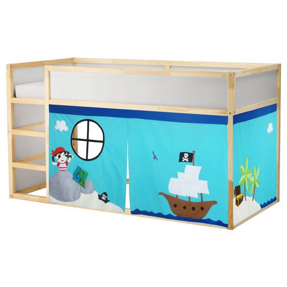 Playhouse made from cotton fabrics to fit your bunk-style bed. Bed curtain, kids bed tent, fabric bed playhouse, bunk bed playhouse, kids playhouse.  ****The listing includes ONLY the fabric bed playhouse. The bed showing is the Maxtrix low loft bed and the IKEA Kura bed and used only as an example. ****  A beach themed bed tent (loft bed curtain) promotes imaginative and interactive play. Children can enter the door or simply use it as a special space for quiet time, story time or even a…