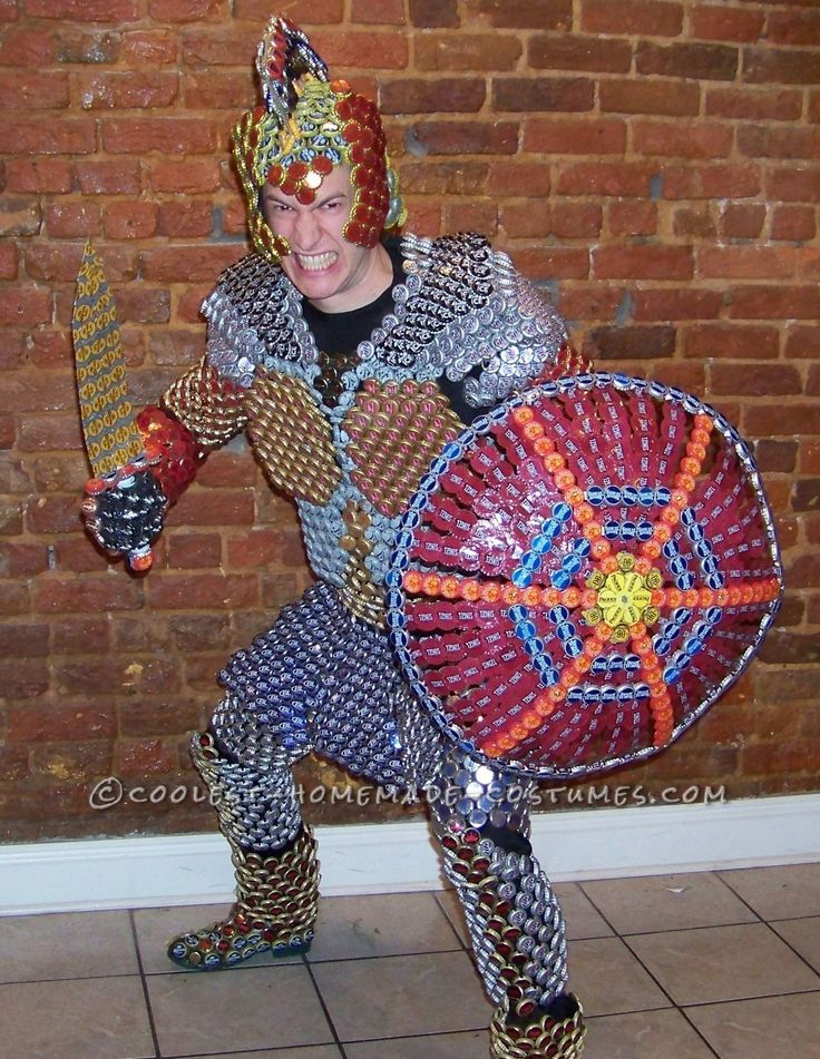 Recycled Beer Capped Crusader Costume Drinking In The