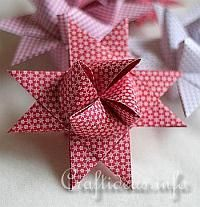 """Illustrated Craft Tutorial - How to Make a German Paper Star - """"Froebel Stern"""" -   This star can also be made with metallic paper strips which adds an elegant touch to it. This tutorial is using 4 different colors of paper to make the steps easier to follow."""