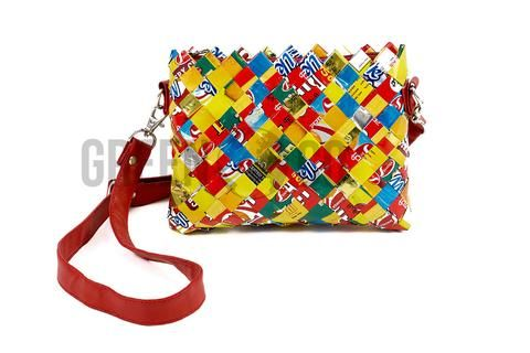 Ladies Handbag, Cross Body Bag with Shoulder Strap, Small Size, Made from Recycled Woven Candy Wrappers, Handmade in Nepal - Multicolour with Red Strap