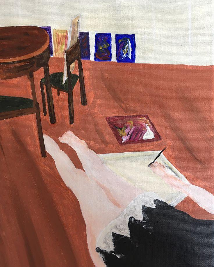 """""""Dans l'appartement"""" – Acrylique sur toile, 24x18 cm, 2017"""