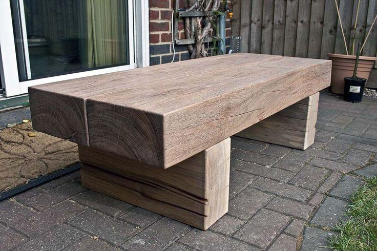 Greg's table with tropical hardwood railway sleepers