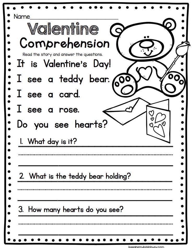 Valentine's Day Comprehension Worksheet - Easy Reading Activity For  Kindergarten Or Fi… Reading Comprehension Worksheets, Reading Worksheets,  Valentine Worksheets
