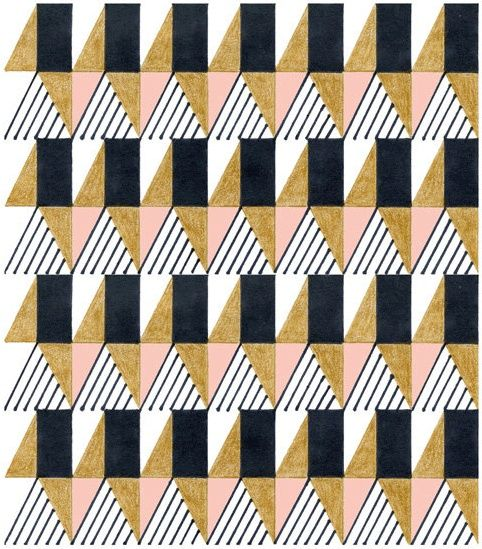 - Triangles, rectangles, lines, pink, gold & black #pattern