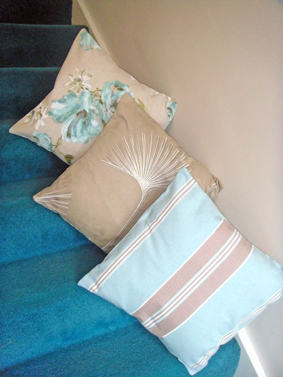 Three cushion covers pillows in blue and by ItsSewInspirational, £29.50