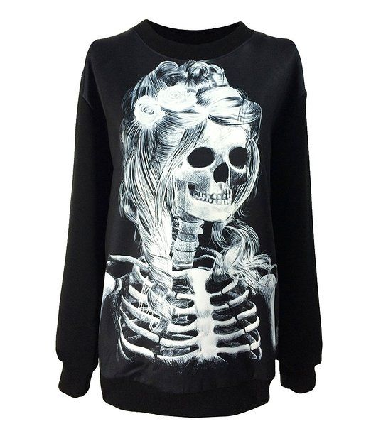 Gothic Clothing Sweatshirts Skull Girl Hoodies Pullovers Sweater For Women