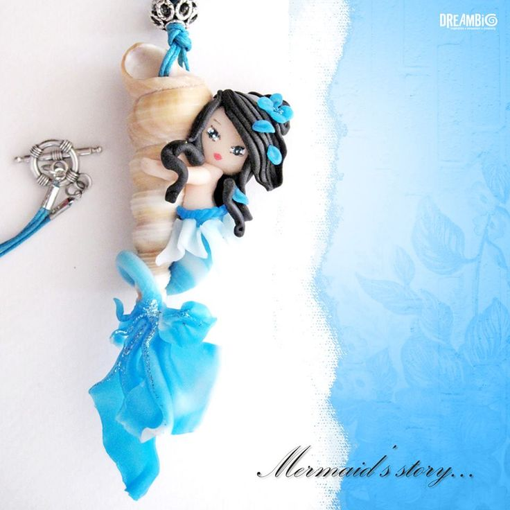 sky blue/ polymer clay/ mermaid/ meclace/jewelry/natural shell