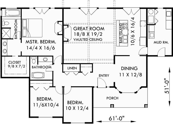 main floor plan for 9940 one level house plans single level craftsman house plans
