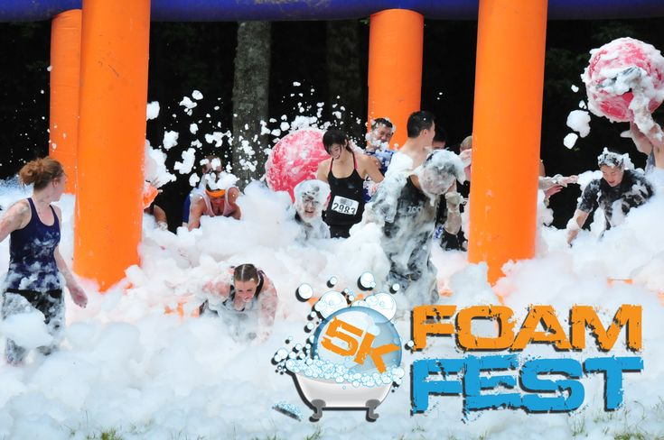5k Foam Fest - Not only do you get to run through foam AND mud but this 5k run includes obstacles like a 50 foot slip n slide, the death drop, Tube Crossing, and a Mud Pit N Climb!