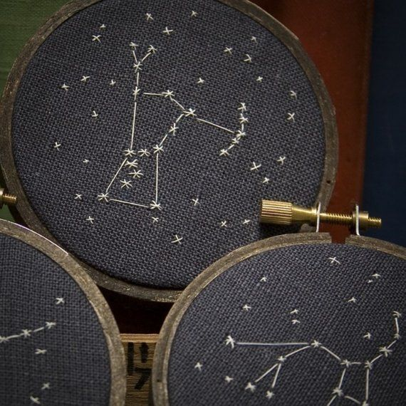 Constellation Embroidery. Might make some astrological sign pillows. Hmm...
