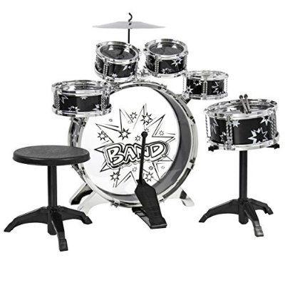 Best Choice Products 11 Piece Kids Drum Set Kids Toy Musical Instrument W/ Bass Drum, Tom Drums, Cymbal, Stool, Drumsticks Drum Kit