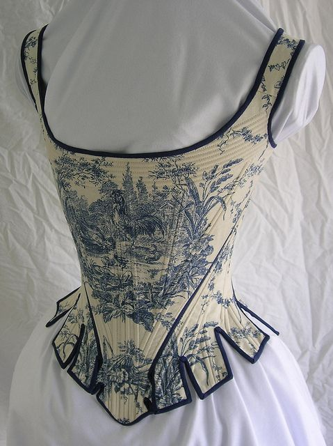 Stays made from 1780 pattern by Norah Waugh from Corsets and Crinolines. Waverly cotton Toile de Jouy, cotton denim, cotton trim, and basket reed boning  -- by Bridges on the Body