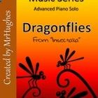 Looking for a piano solo for your advanced piano students? Then this is the one you want! Dragonflies (from Insectalia) is an exciting contemporary and upbeat piece that is not only fun to play, but enjoyable to hear. Check out the Free Preview: It is a compressed folder that has the first page of Dragonflies AND a mp3 of a short segment of the song. Buy Now: When you complete the purchase of the song, you get all four pages of Dragonflies and a demo mp3 of the entire song.