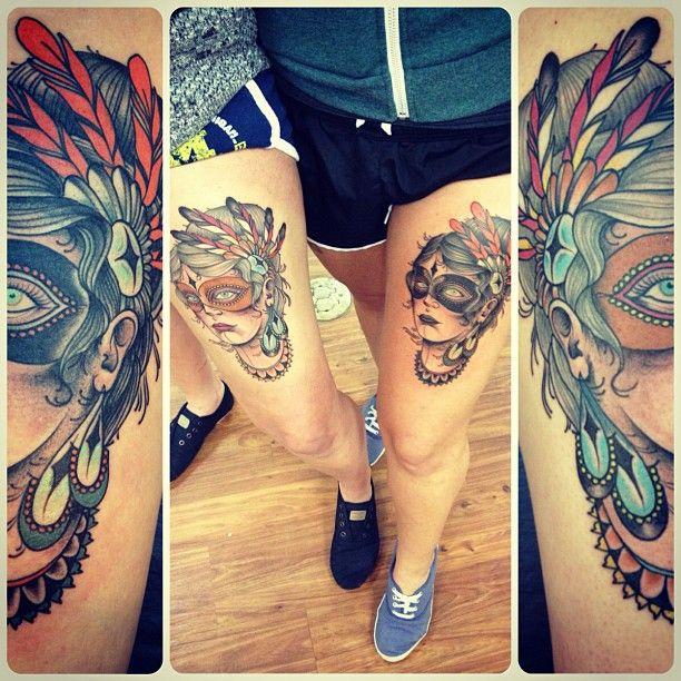 beautiful #girl_leg_tattoo #masquerade #lady_head_tattoo by Matt Lambdin
