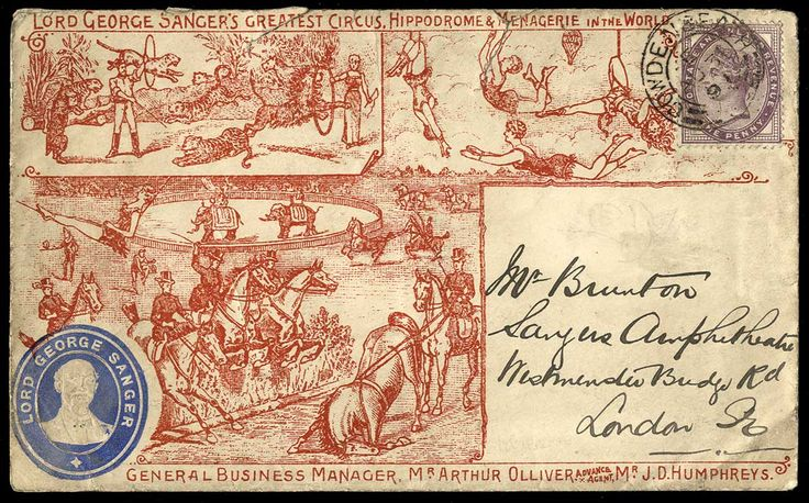 Advertising envelope for L.G. Sanger's circus