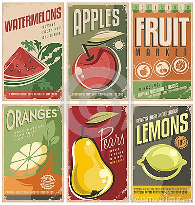 Retro fruit poster designs.