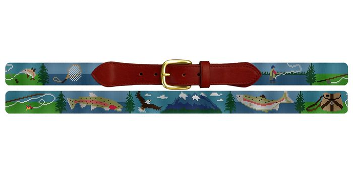 Climbing over trees, sliding down bluffs, crawling over boulders and rock hopping, are a fun part of mountain stream fly fishing. We've captured the feel of these moments with our Mountain Stream Fly Fishing belt, including images of a fly fishing rod, brook trout, bald eagle, rainbow trout, gear bag, fish, and a net.